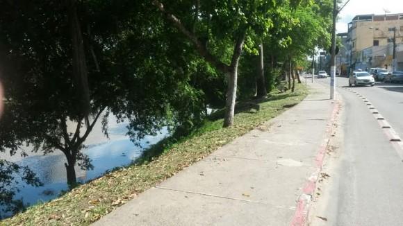 Calçada agora está livre do matagal (Foto Pimenta).