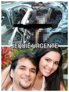 Diana morreu na hora, enquanto Rafael saiu gravemente ferido (imagens site Jequié Urgente)