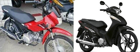Foto e ilustração de motos roubadas em Itabuna.