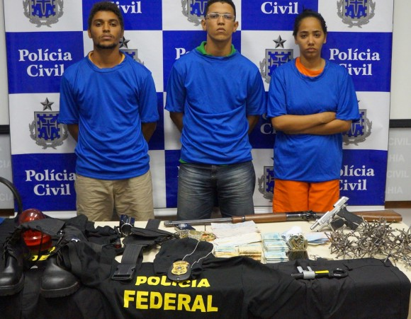 Leonardo Argolo, Vitor Murilo e Jéssica Silva foram presos em Salvador.