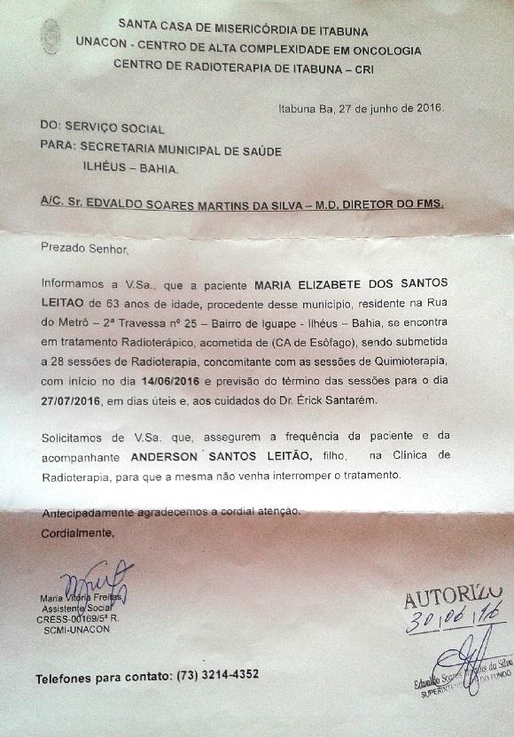 Documento pede que a Secretaria da Saúde assegure que a paciente compareça às sessões de radioterapia