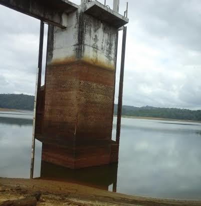 Volume de água na represa está mais de 5 metros abaixo do nível normal.