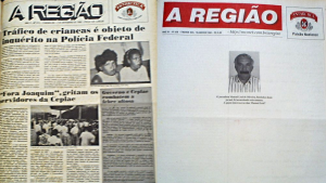 Primeiras páginas históricas: numa, a denúncia do tráfico de drogas; noutra, um crime ainda impune, a morte de Leal.