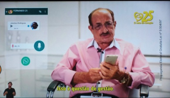 Fernando diz em entrevista que não tem WhatsApp (Reprodução Horário Eleitoral).