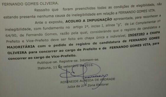 Decisão da juíza Rosineide Andrade barra Fernando.
