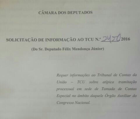 Requerimento apresentado pelo parlamentar ao TCU.