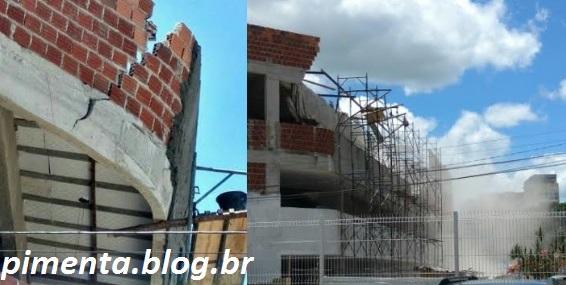 Operários rebocavam beiral da parte superior do 2º piso, quando a laje começou a rachar.
